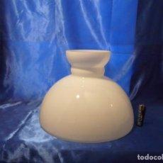 Antigüedades: GRAN TULIPA PANTALLA PARA LAMPARA QUINQUE EN OPALINA BLANCA, BOCA 330 MM. Lote 143692902