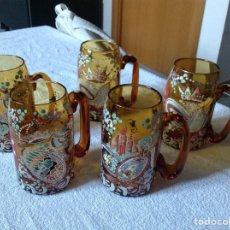 Antigüedades: JARRAS DE CRISTAL PINTADAS A MANO CICERA. Lote 143722622