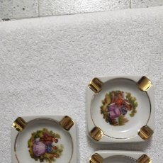 Antigüedades: 3 CENICEROS LIMOGES DE COLECCION. Lote 143726896
