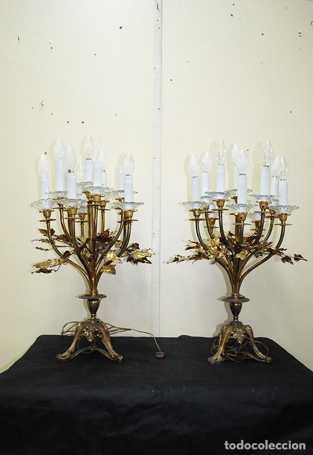 CANDELABROS ANTIGUOS DE BRONCE (Antigüedades - Iluminación - Candelabros Antiguos)