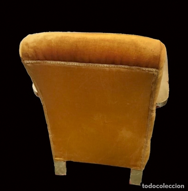 Antigüedades: butaca descalzadora dorada , preciosa, cómoda. - Foto 3 - 143800914