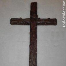 Antigüedades: ANTIGUA CRUZ, DE MADERA. 60 CMS.. Lote 143923290