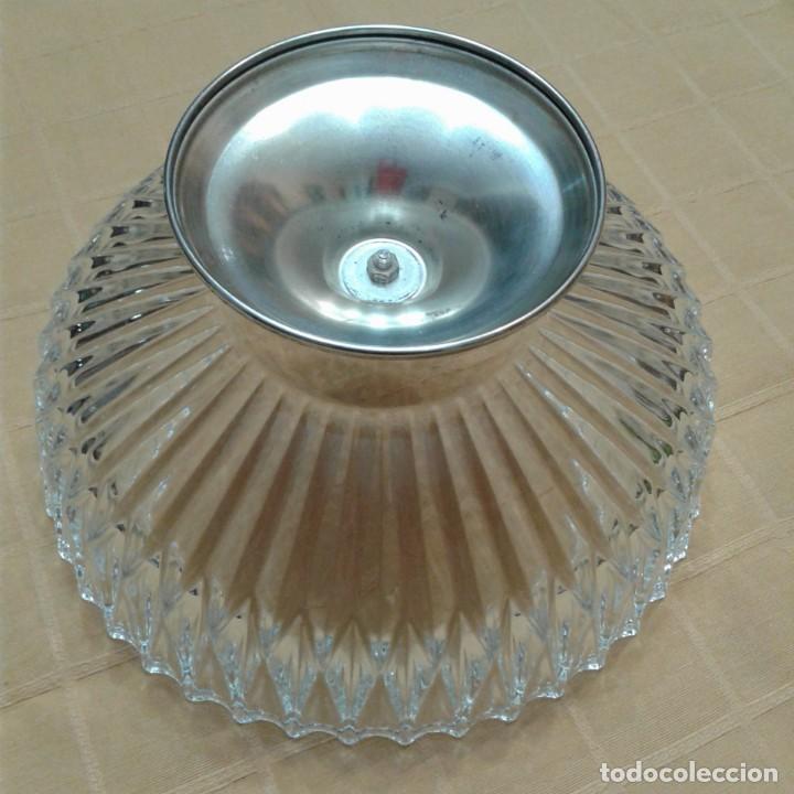 Antigüedades: centro de mesa cristal y base plateada, años 70 - Foto 4 - 143940022