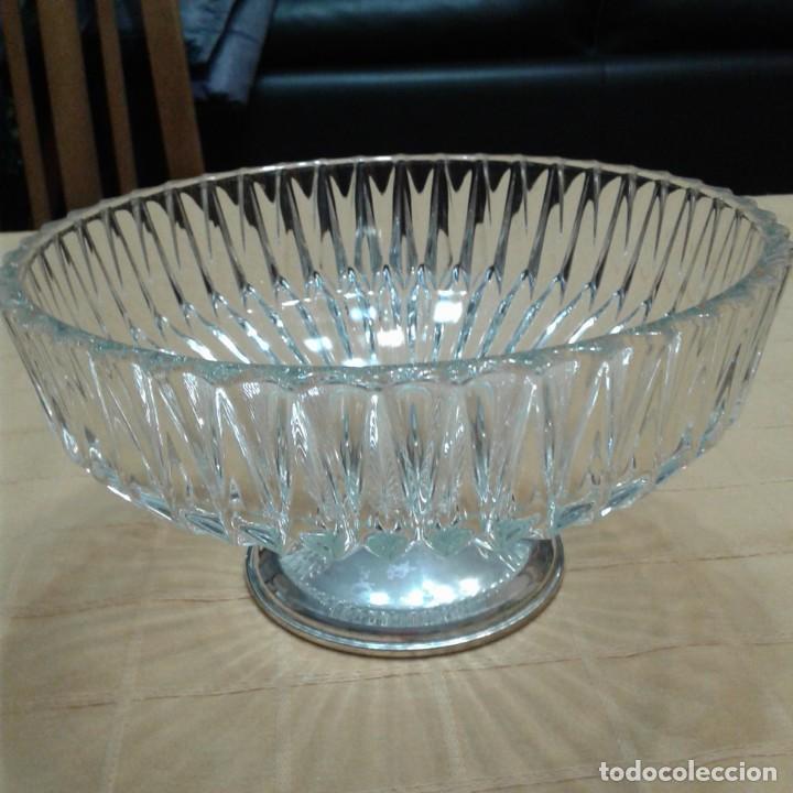 Antigüedades: centro de mesa cristal y base plateada, años 70 - Foto 5 - 143940022