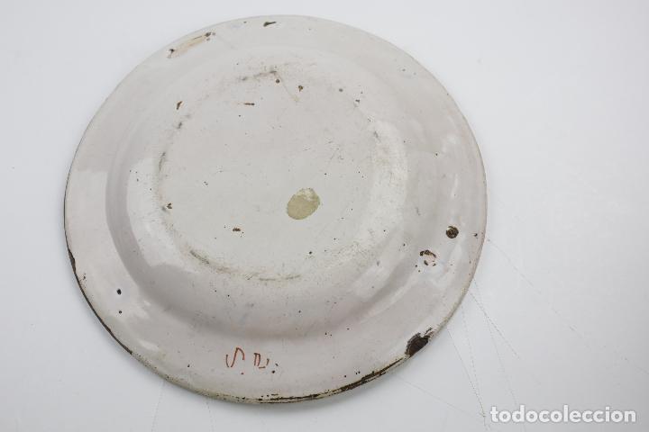 Antigüedades: Plato de manises, firmado, siglo XIX. 30 cm de diámetro - Foto 3 - 143977262