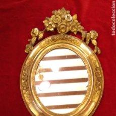 Antigüedades: ESPEJO CON MARCO DORADO SIGLO XIX. Lote 143979781