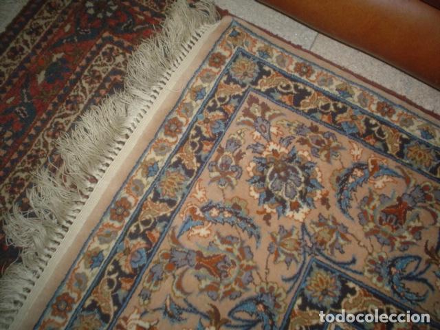 Antigüedades: precioso alfombra ispahan persa seda y lana - Foto 3 - 143982446