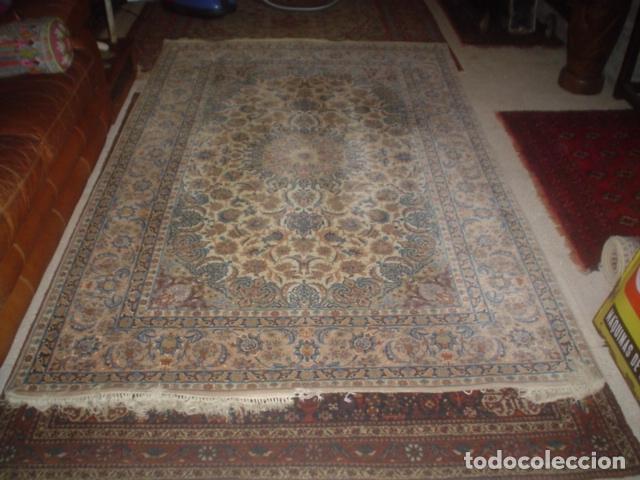 Antigüedades: precioso alfombra ispahan persa seda y lana - Foto 5 - 143982446
