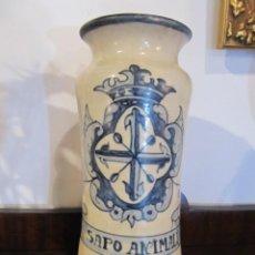 Antigüedades: JARRO DE FARMACIA / ALBARELO EN CERAMICA AZUL Y BLANCO - SIGLO XIX - 27 CM.. Lote 143986558