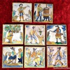 Antigüedades: LOTE DE 8 AZULEJOS DE OFICIOS. CERÁMICA ESMALTADA. CATALUNYA. SIGLOS XIX-XX. Lote 143992750