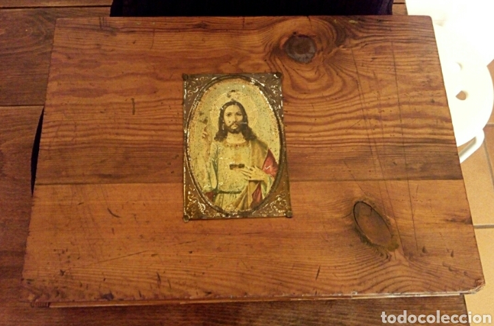 Antigüedades: Limosnera. Petitoria de sacristia. Madera de roble. Siglo XIX - Foto 5 - 144016082