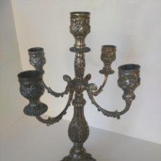 Antigüedades: ANTIGUO CANDELABRO PLATEADO DE 5 BRAZOS. Lote 144036626