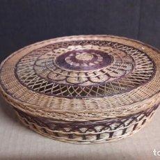 Antigüedades: CESTITA DE MIMBRE MUY TRABAJADA . Lote 144045514