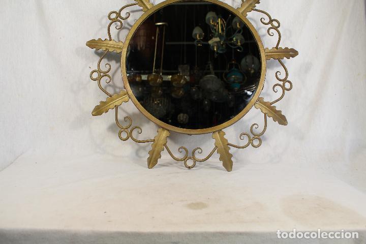 Antigüedades: espejo de sol en hierro de forja - Foto 2 - 144071070
