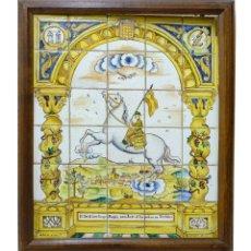 Antigüedades: 1937 CENTELLES GUERRA CIVIL MOSAICO DE 30 AZULEJOS DE JOAN GUIVERNAU - ALEGORIA DE SANTIAGO PAGÉS. Lote 144073162