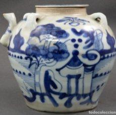 Antigüedades: TETERA EN PORCELANA CHINA KANJI CON DECORACION EN BLANCO Y AZUL PRINCIPIOS SIGLO XX. Lote 144098738