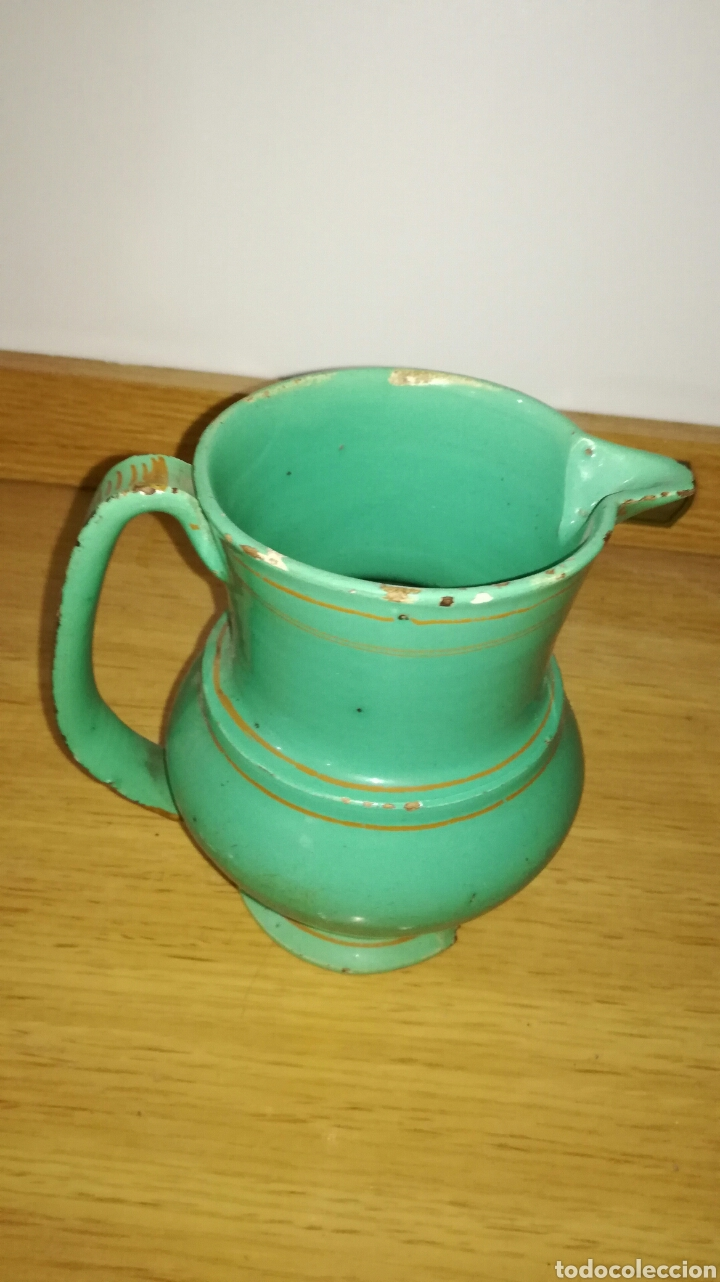 JARRA VERDE ANTIGUA DE PICO (Antigüedades - Porcelanas y Cerámicas - Otras)