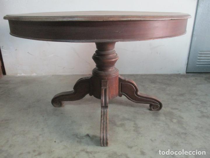 Antigüedades: Antigua Mesa de Comedor Extensible - Isabelino - Madera de Nogal - S. XIX - Foto 4 - 178682981