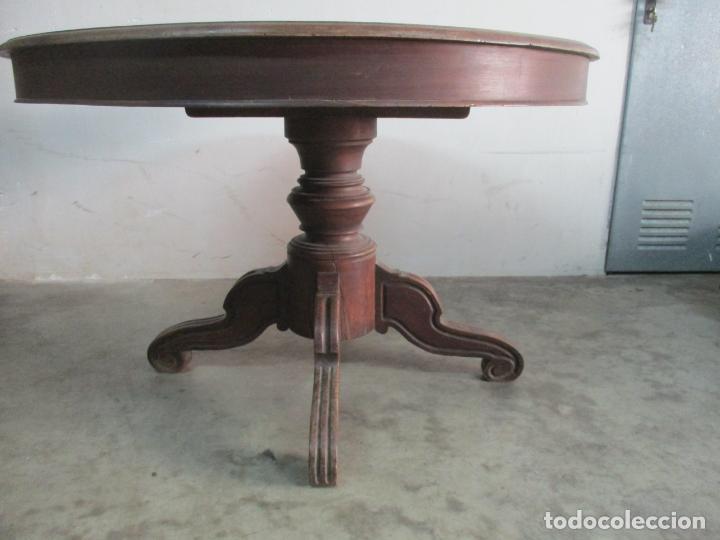 Antigüedades: Antigua Mesa de Comedor Extensible - Isabelino - Madera de Nogal - S. XIX - Foto 13 - 178682981