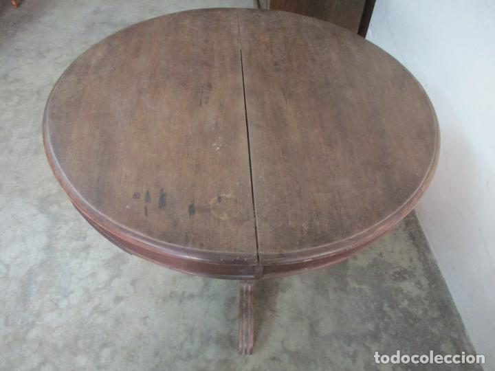 Antigüedades: Antigua Mesa de Comedor Extensible - Isabelino - Madera de Nogal - S. XIX - Foto 16 - 178682981