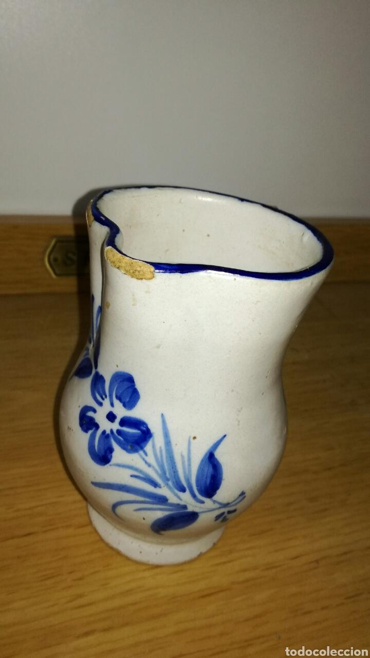 JARRA ANTIGUA ORIGINAL AZUL DE MANISES CON FLORES (Antigüedades - Porcelanas y Cerámicas - Manises)