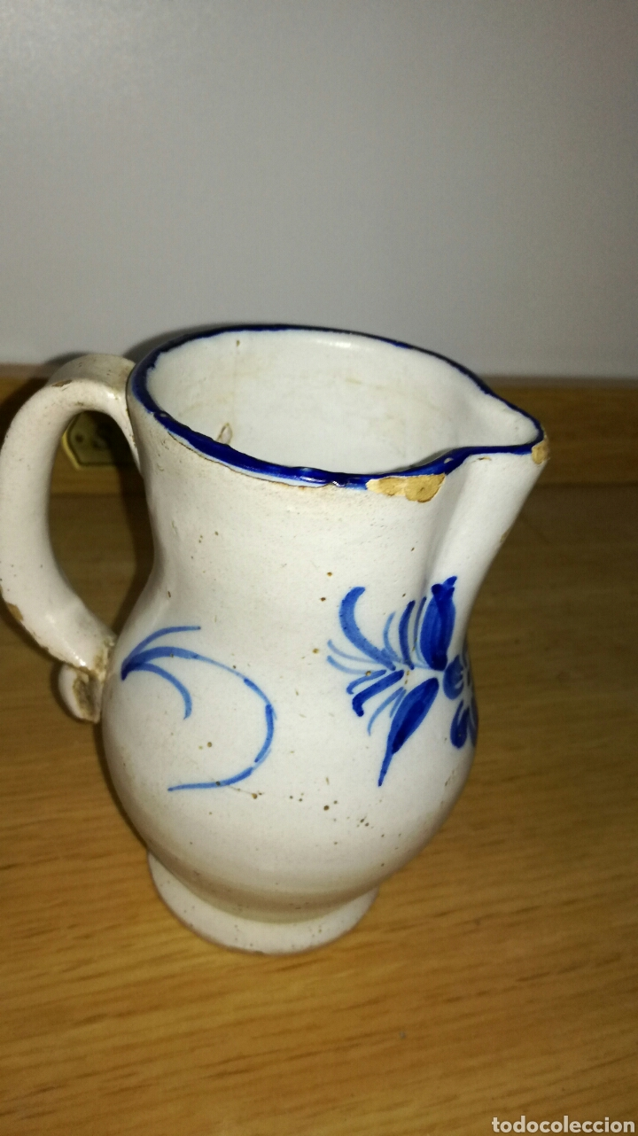 Antigüedades: Jarra antigua original azul de manises con flores - Foto 2 - 144128881