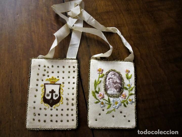 PRECIOSO ESCAPULARIO DE LA VIRGEN DEL CARMEN BORDADO,PRINCIPIOS DE SIGLO XX (Antigüedades - Religiosas - Escapularios Antiguos)