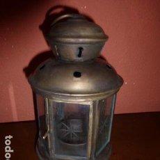 Antigüedades: FAROL O PORTA VELAS DE METAL CON CRISTALES GRABADOS. . Lote 144154274