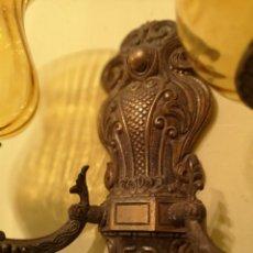 Antigüedades: APLIQUES DORADOS CON TULIPAS PAREJA MED 29 X 32 CTM. Lote 144194250