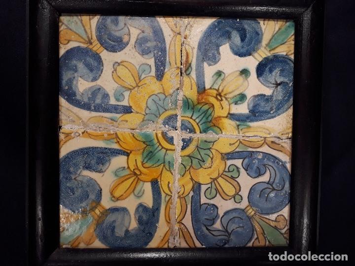 Antigüedades: CUATRO AZULEJOS ENMARCADOS. VALENCIA. 2ª MITAD SIGLO XVII - PRINCIPIOS XVIII. - Foto 2 - 144208042