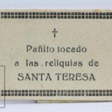 Antigüedades: ANTIGUA RELIQUIA RELIGIOSA - PAÑITO TOCADO A LAS RELIQUIAS DE SANTA TERESA DE JESÚS. Lote 144219380