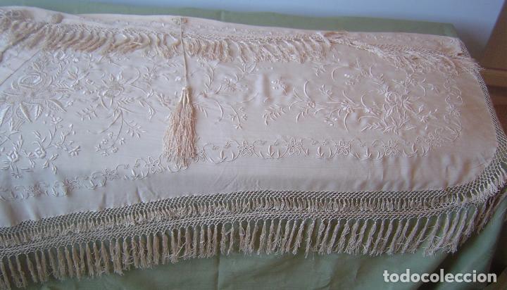 Antiques: Capa o salida de teatro antigua Isabelina en seda bordada a mano - Foto 11 - 144226490