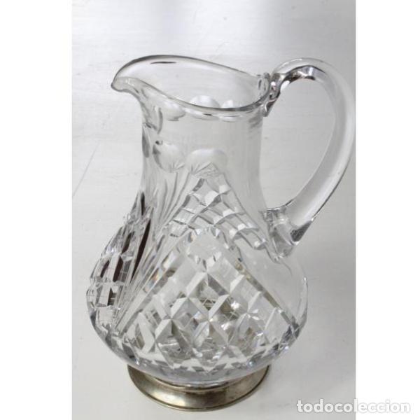 ANTIGUA JARRA DE CRISTAL DE BOHEMIA Y PLATA (Antigüedades - Cristal y Vidrio - Bohemia)