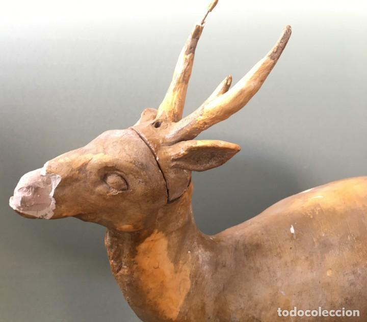 Antigüedades: ESPECTACULAR CIERVO EN ESTUCO DE LOS TALLERES DE OLOT, FIGURA DE PESEBRE? - Foto 2 - 144230886