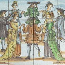 Antigüedades: BAILARINES. COMPOSICIÓN DE AZULEJOS ESMALTADOS. PINTADOS A MANO. SIGLO XX. . Lote 144238086