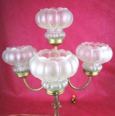 Antigüedades: LOTE 4 TULIPAS ANTIGUAS CRISTAL 1840-1890 RESTAURACION LAMPARAS . Lote 144267282