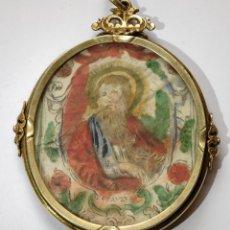 Antigüedades: RELICARIO PLATA DORADA. DOBLE CARA. GRAN TAMAÑO. SIGLO XVIII. Lote 144272545
