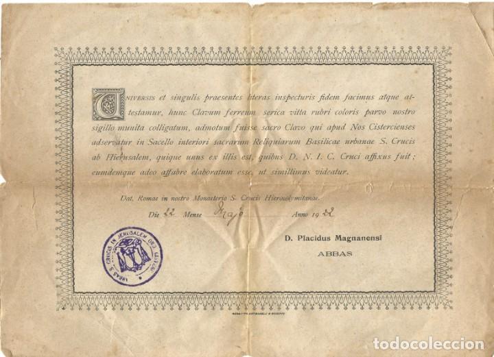MONASTERIO DE LA SANTA CRUZ DE JERUSALEM 1922 ABBAS S CRUCIS IN JERUSALEN ORDEN CISTERCIENSE (Antigüedades - Religiosas - Varios)