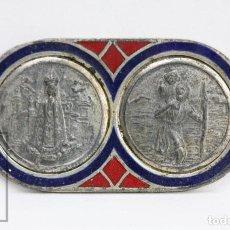 Antigüedades: PLACA ESMALTADA PARA AUTOMÓVIL MEDALLAS RELIGIOSAS - VIRGEN MARÍA / SAN CRISTÓBAL CON EL NIÑO JESÚS. Lote 144323302
