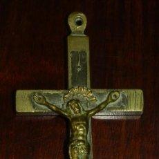 Antigüedades: CRUCIFIJO CRISTO CRUZ CALAVERA EN MADERA Y BRONCE, SIGLO XIX, MIDE 11,5 CMS.. Lote 144331630