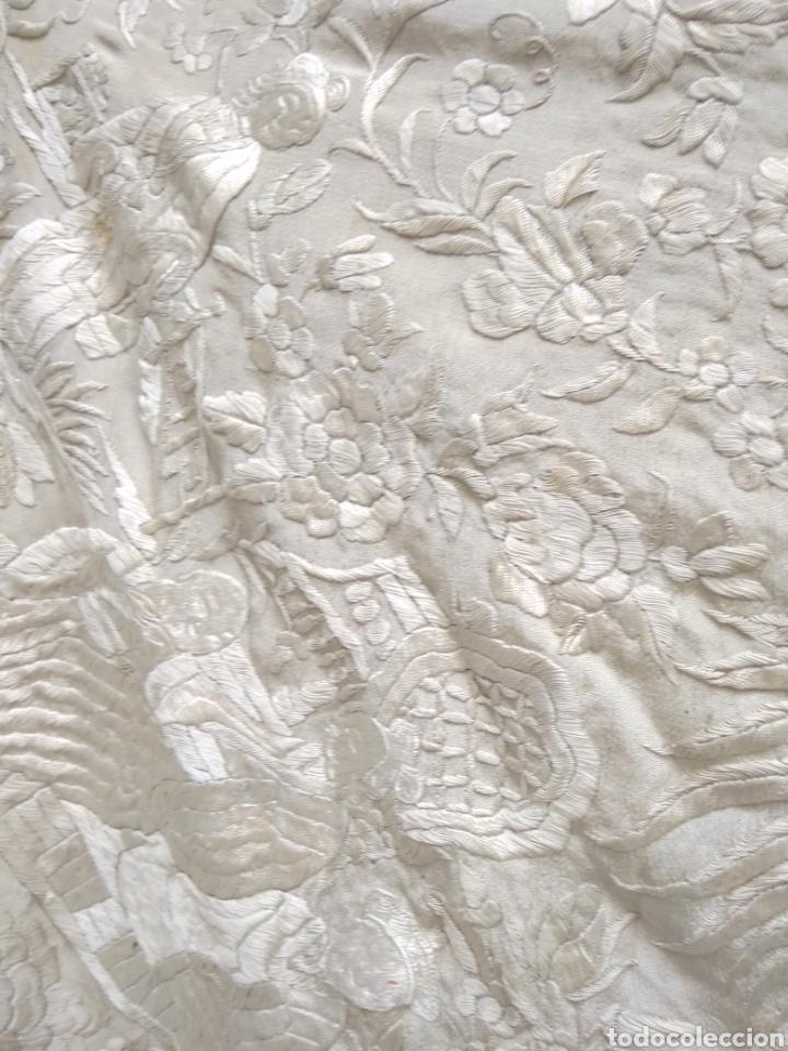 Antigüedades: Mantón Manila siglo XIX , isabelino de seda bordado a mano - Foto 7 - 144443788