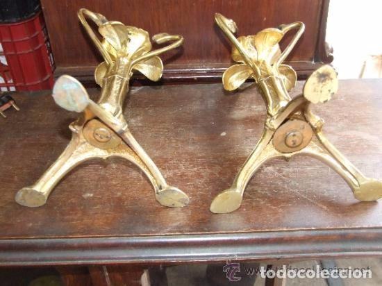 Antigüedades: PAREJA DE CANDELABROS MODERNISTAS EN BRONCE - Foto 3 - 144451958