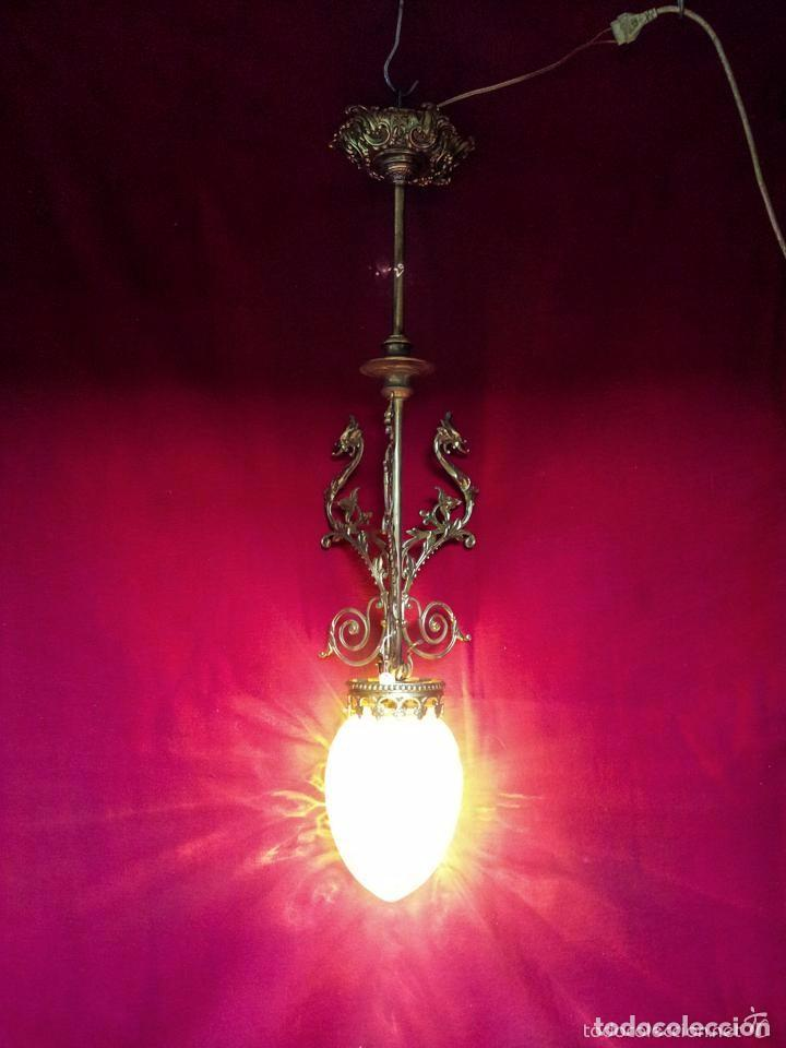 Antigüedades: LAMPARA GLOBO MODERNISTA BRONCE - Foto 3 - 144461834