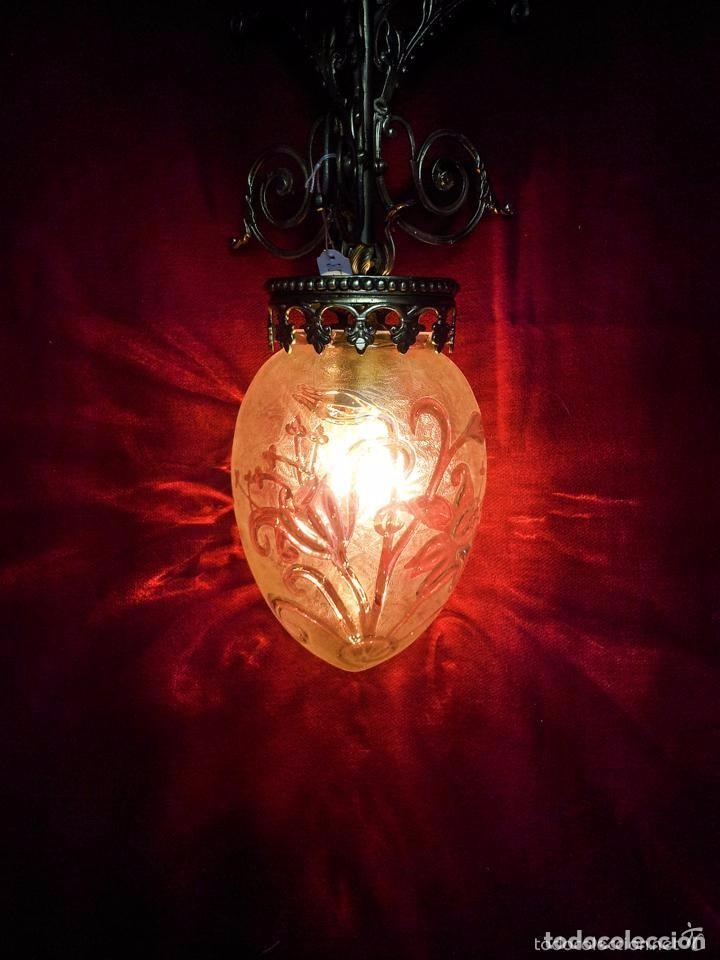 Antigüedades: LAMPARA GLOBO MODERNISTA BRONCE - Foto 4 - 144461834