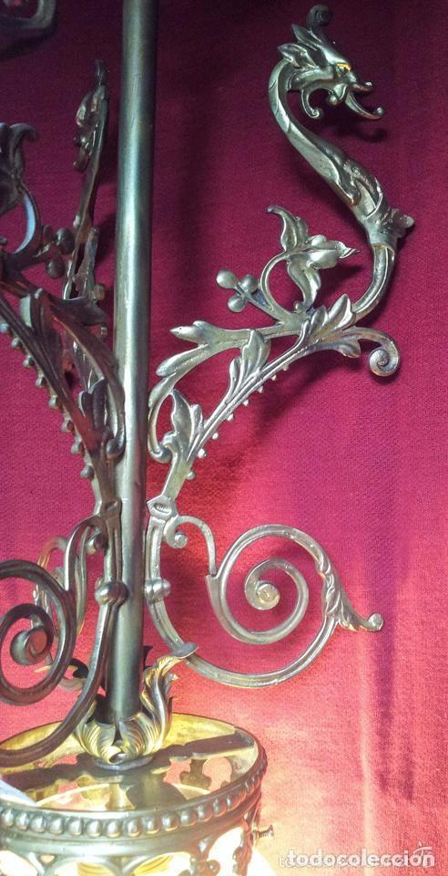 Antigüedades: LAMPARA GLOBO MODERNISTA BRONCE - Foto 6 - 144461834