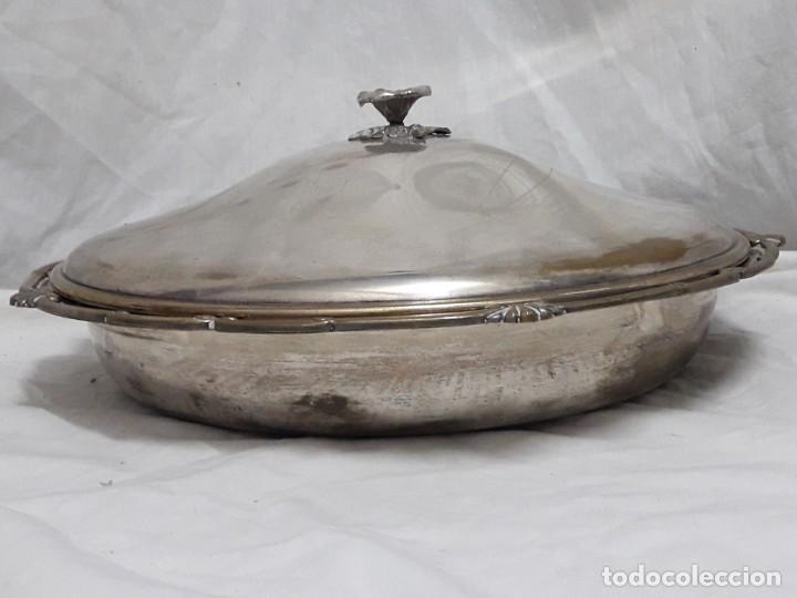 Antigüedades: Gran bandeja redonda con tapa baño de plata 35cm - Foto 2 - 144481650