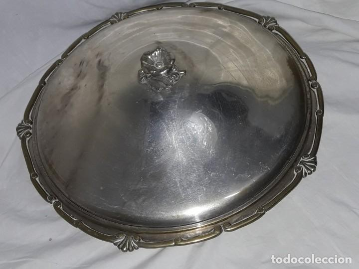 Antigüedades: Gran bandeja redonda con tapa baño de plata 35cm - Foto 8 - 144481650