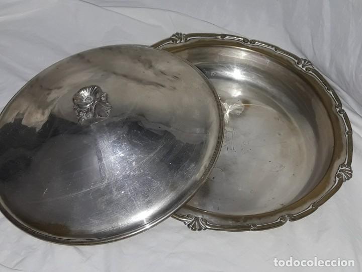 Antigüedades: Gran bandeja redonda con tapa baño de plata 35cm - Foto 11 - 144481650