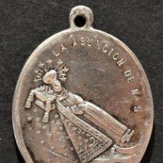 Antigüedades: ANTIGUA MEDALLA DE PLATA LA DORMICIÓN DE LA VIRGEN LA ASUNCIÓN DE NTRA. SRA.. Lote 144484814