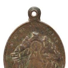 Antigüedades: ANTIGUA MEDALLA DE BRONCE NUESTRA SEÑORA VIRGEN DE MONTSERRAT Y SAN BENITO FUNDADOR. Lote 144496678